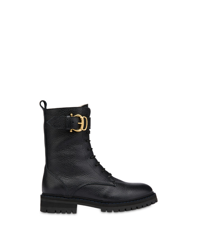 Buckle Notes combat boots in tumbled calfskin Photo 1
