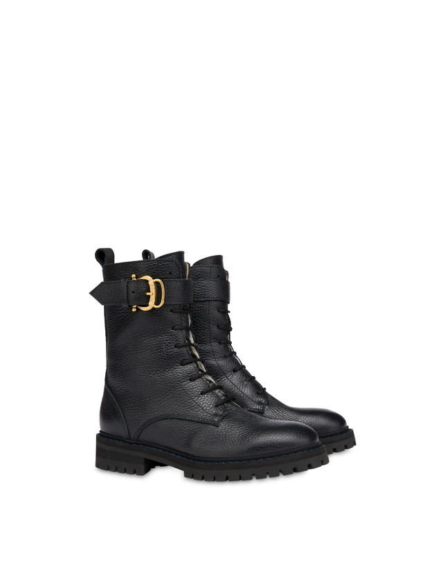 Buckle Notes combat boots in tumbled calfskin Photo 2