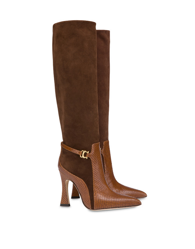 Arco suede leather and python print leather boots Photo 2