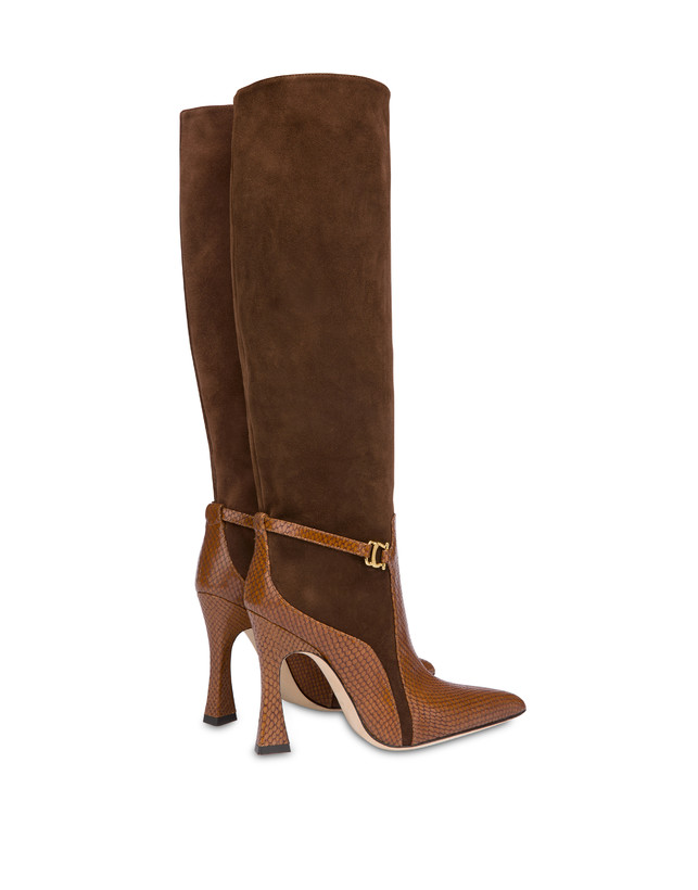 Arco suede leather and python print leather boots Photo 3