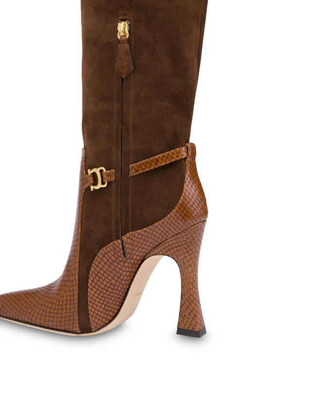Arco suede leather and python print leather boots Photo 4