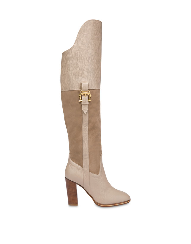 High boots in suede and Cabiria Buckle calfskin Photo 1