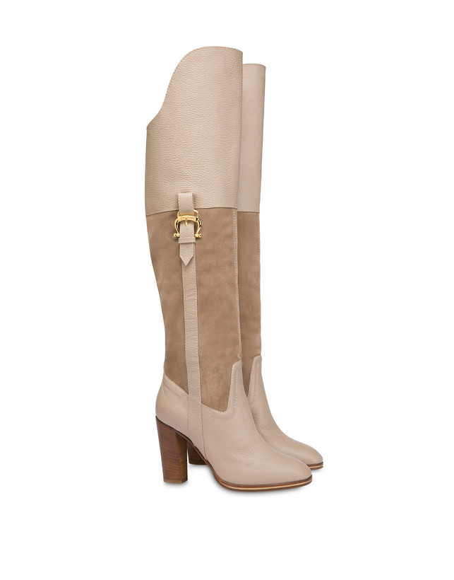 High boots in suede and Cabiria Buckle calfskin Photo 2