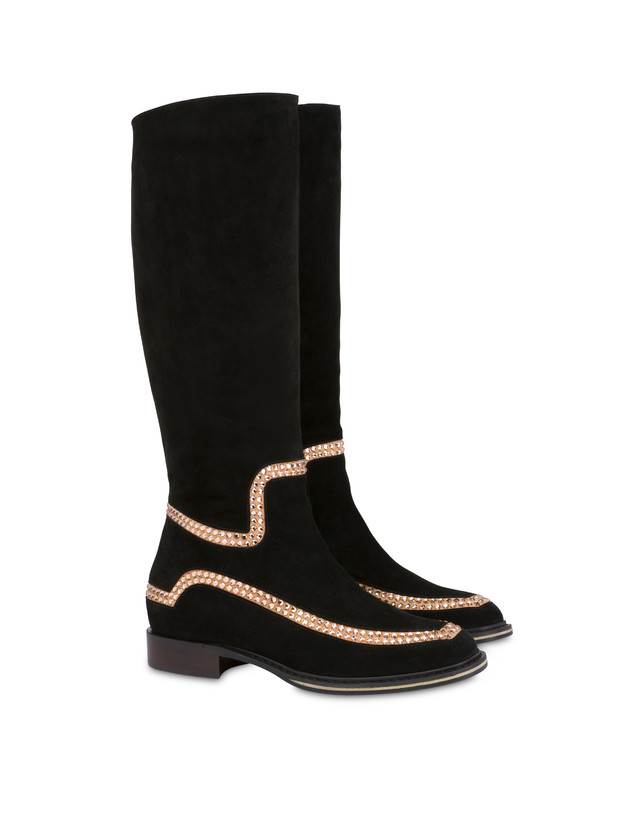 Nataly X Pollini suede boots with rhinestones Photo 2