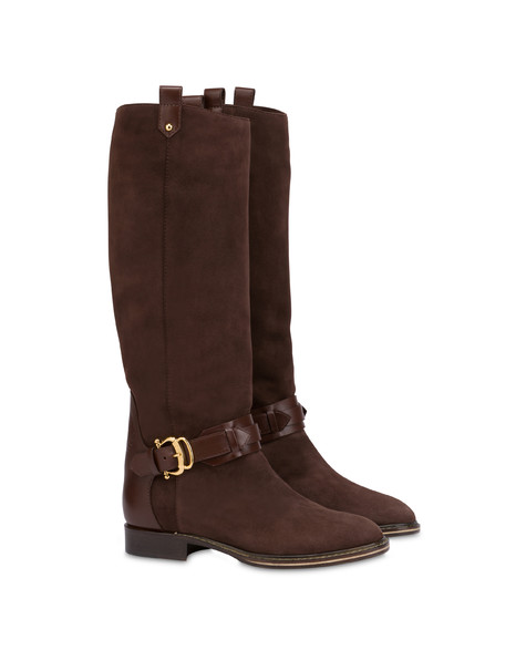Buckle Notes suede knight boots Coffee/coffee