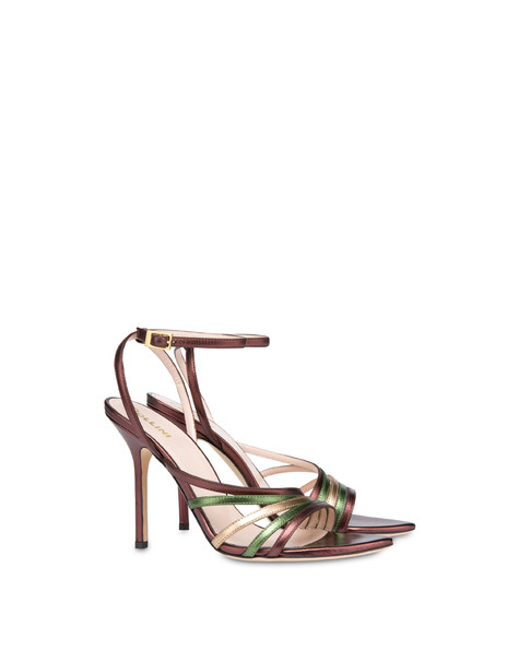 Laminated nappa leather Evening Sandals Coffee/olive/bronze