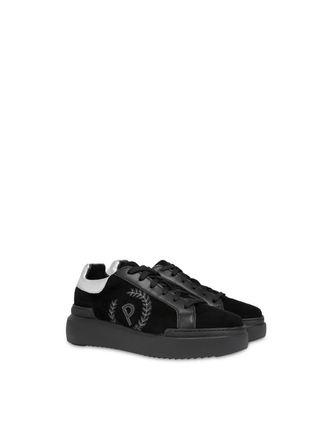 Carrie suede leather sneakers Black/black/silver