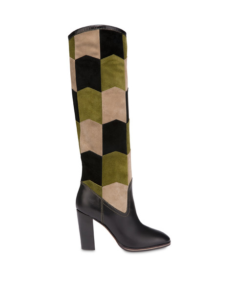 Majolica suede boots Black/olive/earth/black