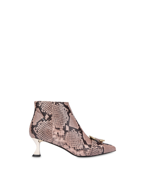 Breakfast At Tiffany's python print leather ankle boots Old rose