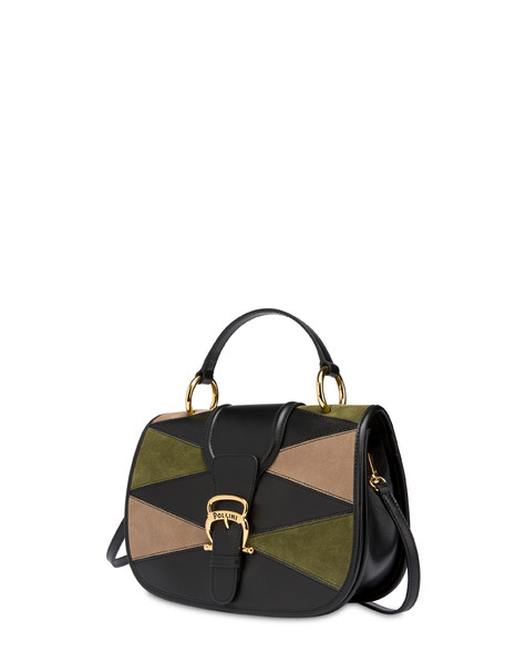 Patchwork handbag in suede and Cabiria Buckle calfskin Black/military green/taupe