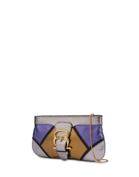 Nataly X Pollini clutch bag in laminated nappa with rhinestones Silver/copper/violet/black