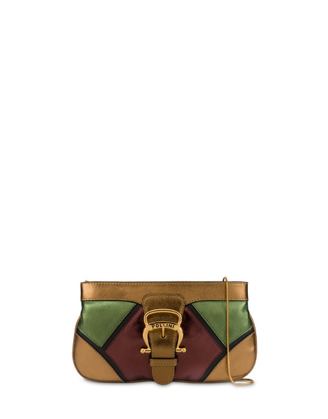 Nataly X Pollini clutch bag in laminated nappa with rhinestones Copper/chocolate/military/black