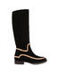 Nataly X Pollini suede boots with rhinestones Black/nude